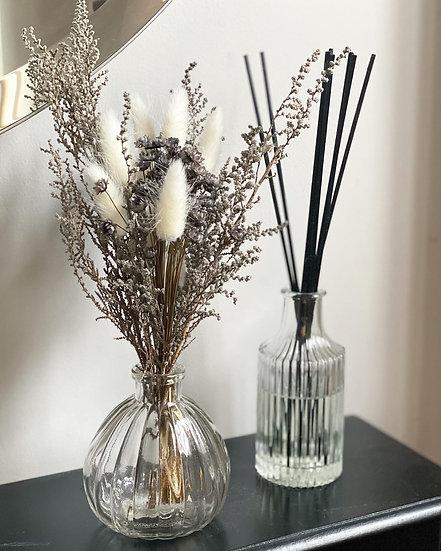 Grey stoebe mini bouquet and vase bundle
