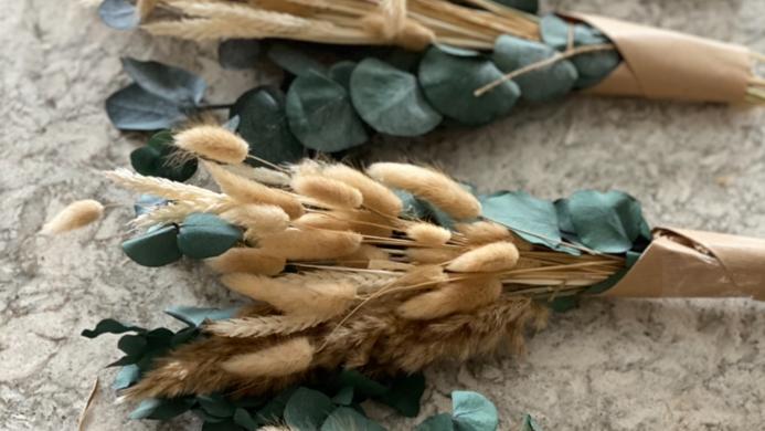Mini pampas, eucalyptus cinerea, natural bunny tail and wheat bouquet