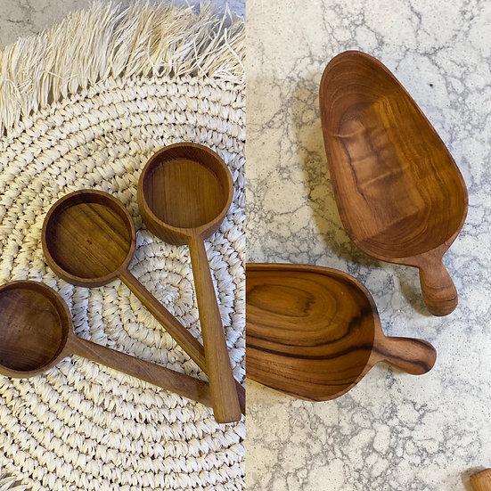 Wooden teak scoop