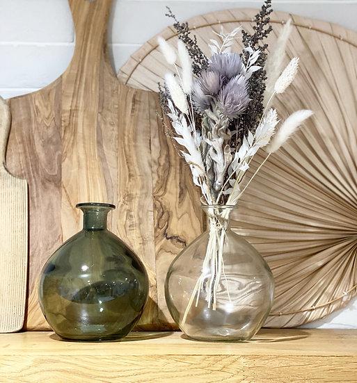 Smoked sphere vase green