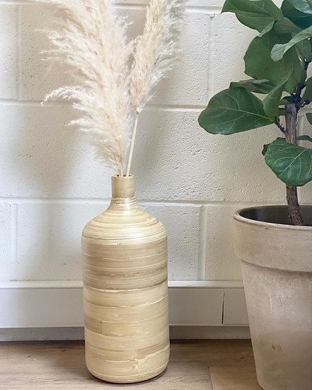 Natural bamboo floor vase