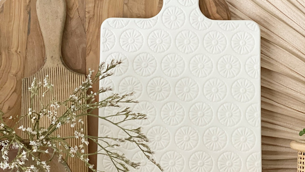 White ceramic serving board