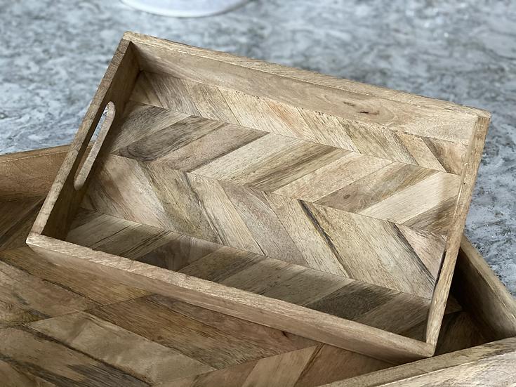 Smaller rectangle mango wood herringbone tray
