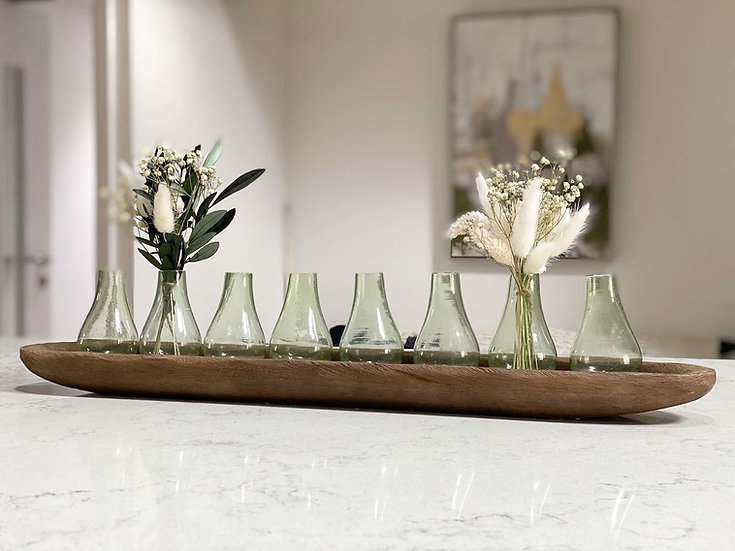 Rustic wooden tray with 8 bud vases