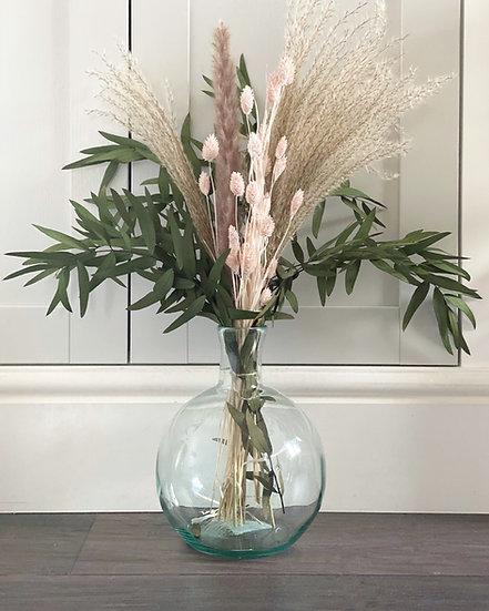 Eucalyptus, pink phalaris & fan bouquet