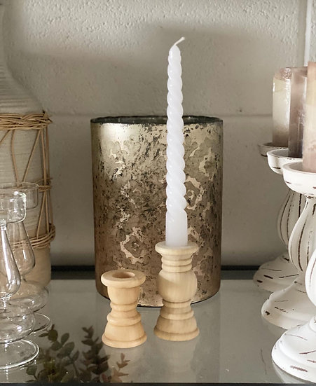 Raw wooden candle stick holders