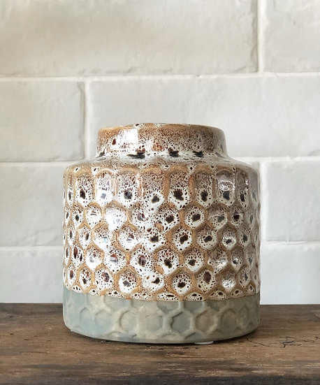 Dimpled stoneware vase
