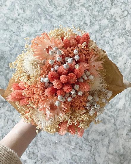 Peach vase and bouquet bundle