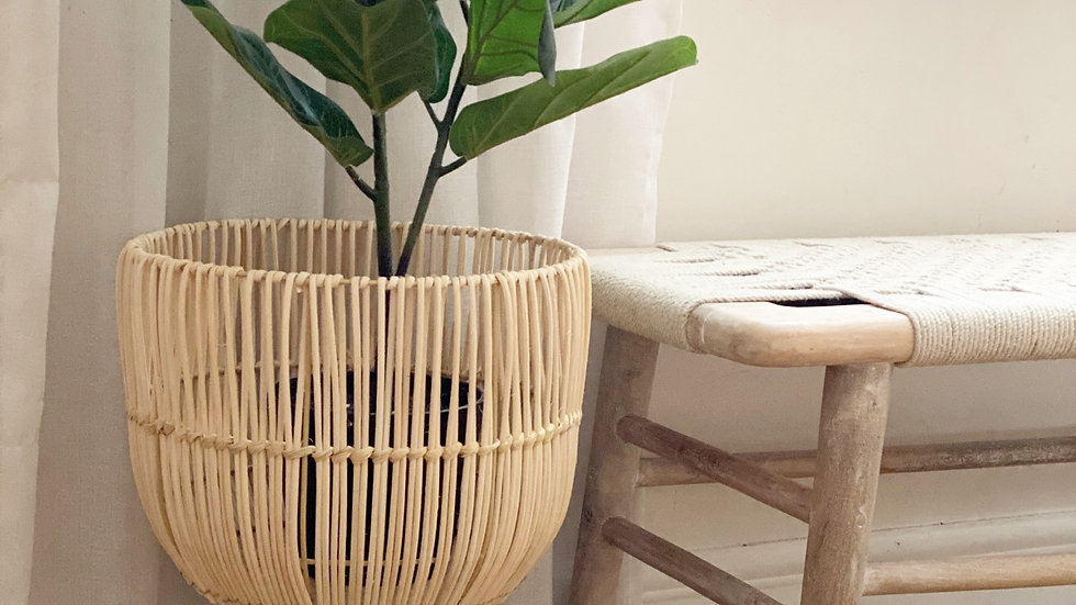 Medium or large handwoven rattan planter on legs