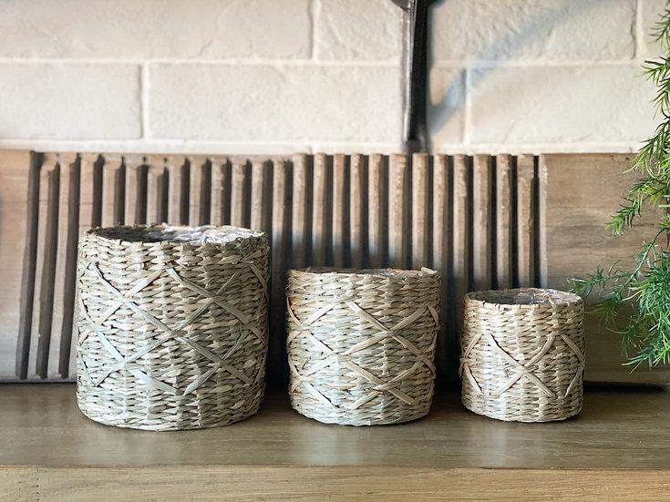 Trio of woven planters