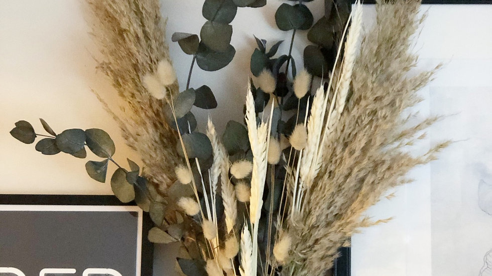 Pampas and eucalyptus cinerea bouquet