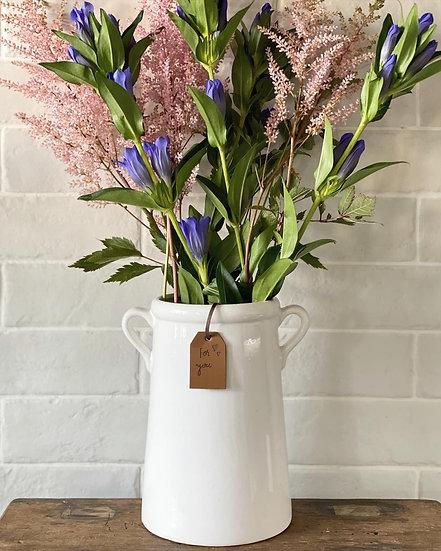 White double handle vase