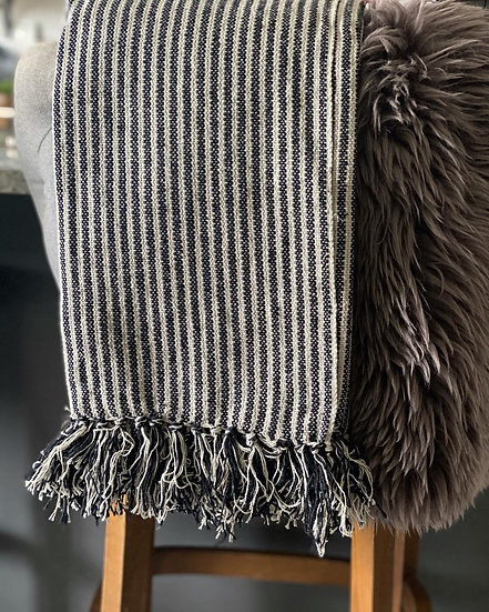 Black and white fringed throw