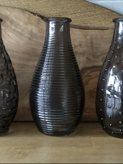 Smoked bud vase horizontal rib