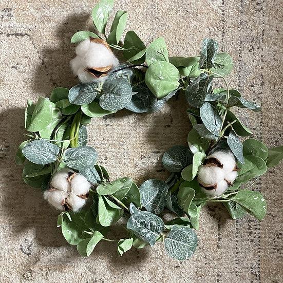 Faux eucalyptus and cotton bud small wreath