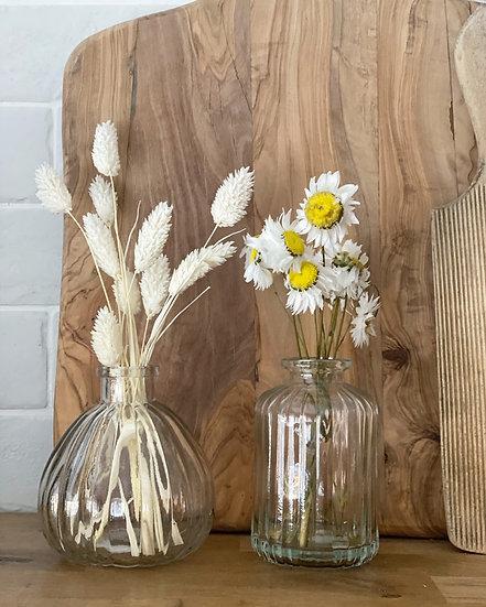 Round ribbed vase (left)