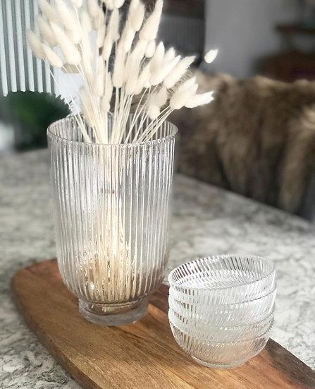 Ribbed hurricane vase