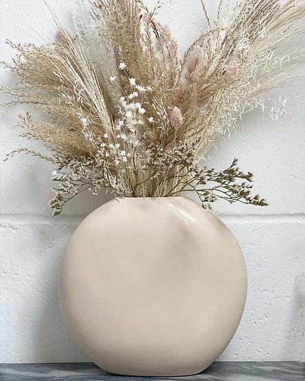 Large cream slim vase