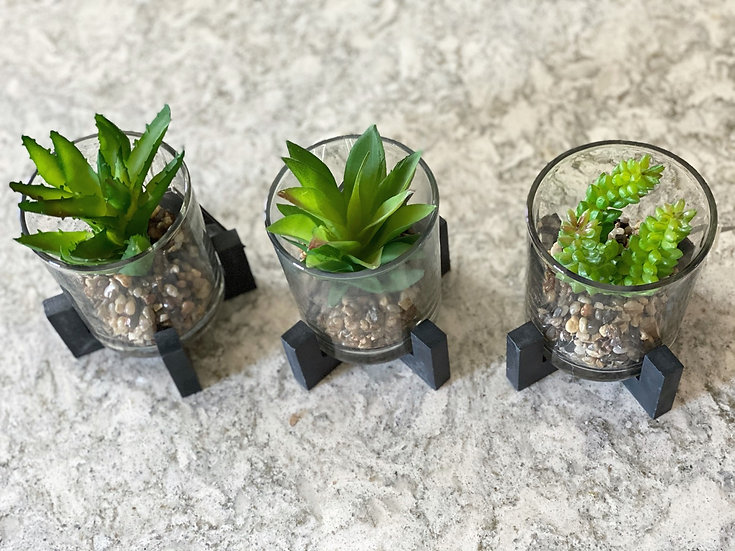 Faux succulents on black stands