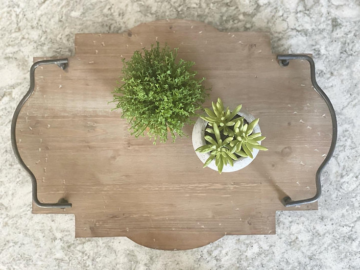 Tray with metal handles in a scalloped design