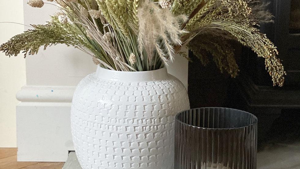 Large terracotta white vase