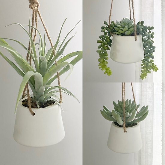 Faux hanging potted succulent