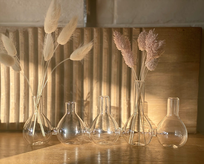 Quintet of joined glass vases