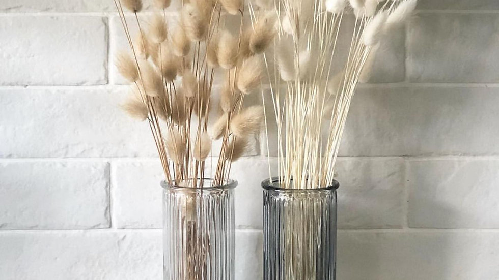 Clear tall thin ribbed vase 20cm