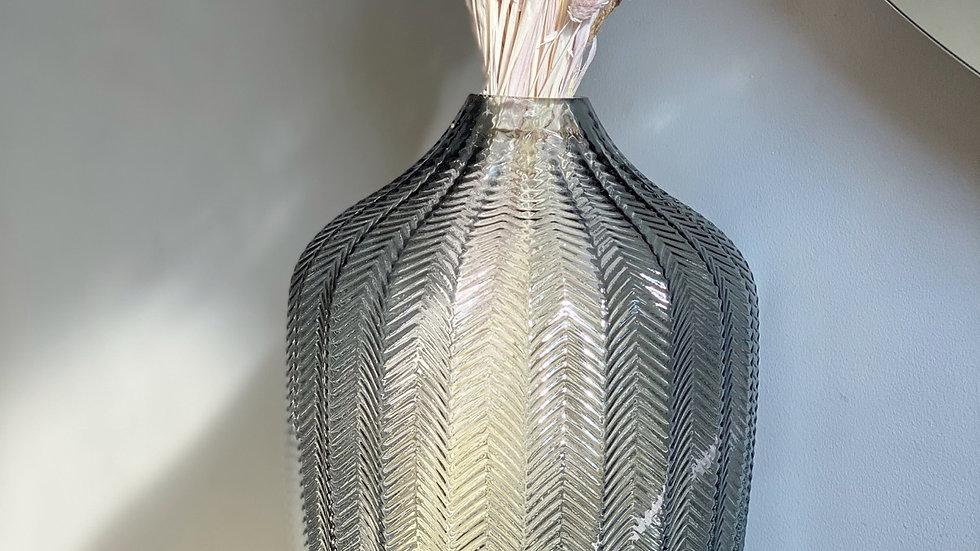Herringbone grey vase