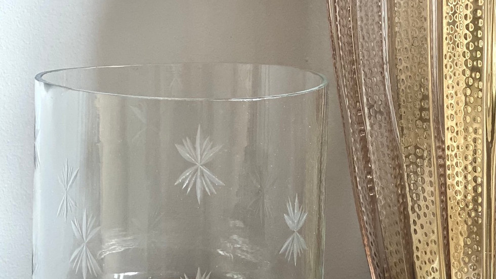 Small star etched candle holder