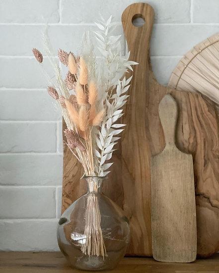 Mini peach bouquet with sphere vase bundle