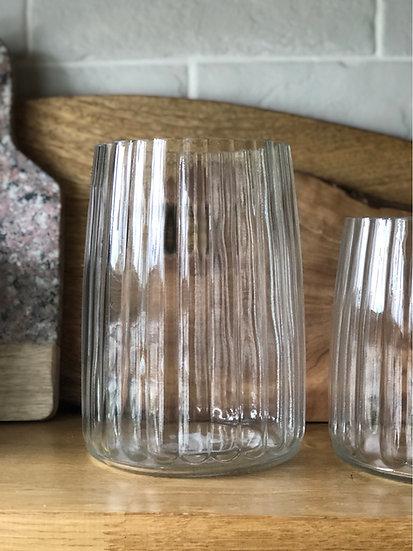 Large fluted glass vase