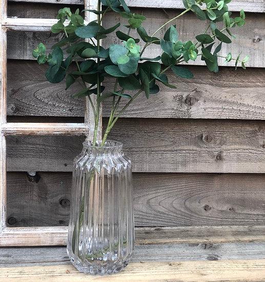 Clear ridged vase