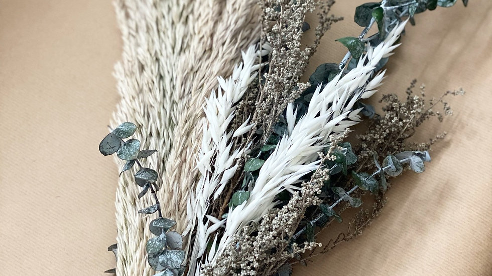 Pampas, baby blue eucalyptus, bleached oats and stoebe large bouquet