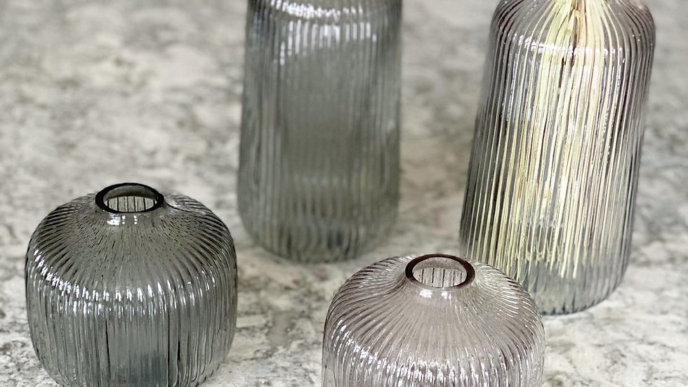 Tall and short ribbed vases
