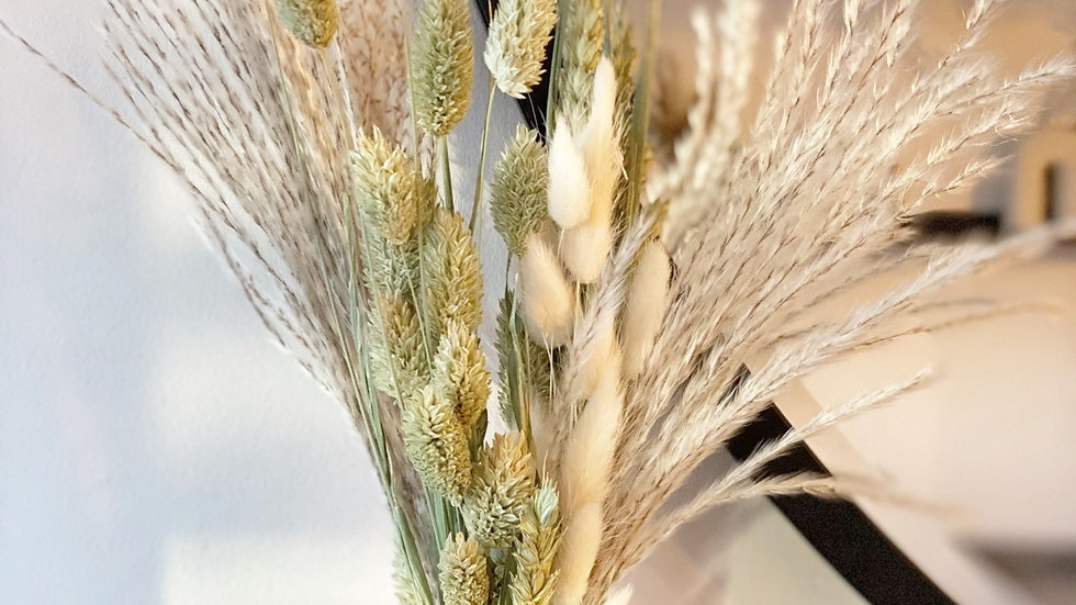 Natural phalaris, wheat, fans and white bunny tail mini bouquet