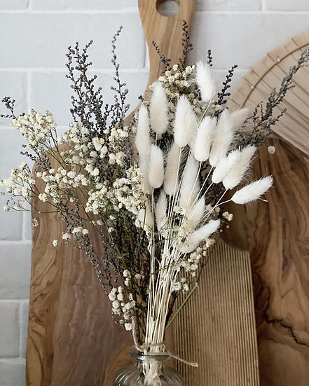 White gypsophilia, bunny tail and stoebe bouquet