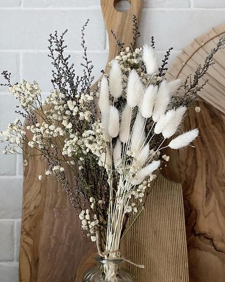 White gypsophilia, bunny tail and stoebe bouquet and vase bundle