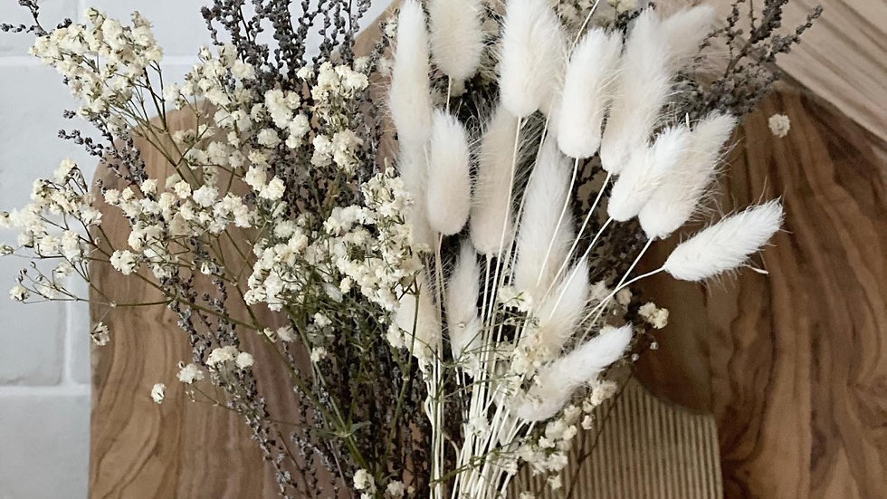 White gypsophilia, bunny tail and stoebe bouquet and vase bundle