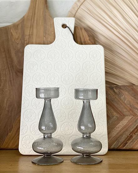 Alia smoked grey tealight holder