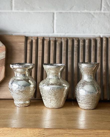 Antique gold bud vase (left)