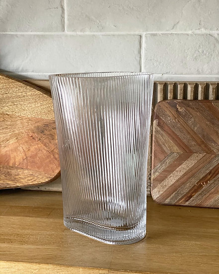 Ribbed clear vase