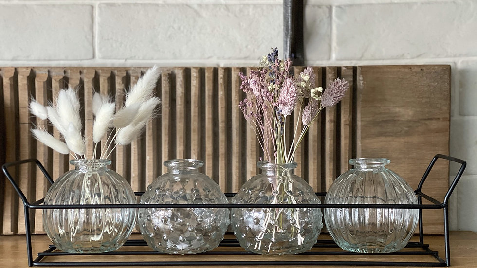 Iron tray with four bud vases