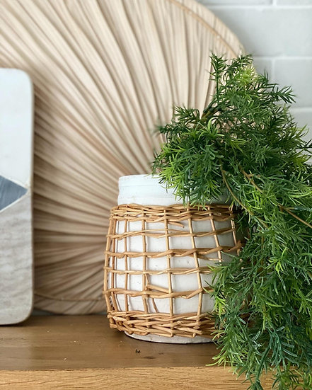 Rattan and white plant pot