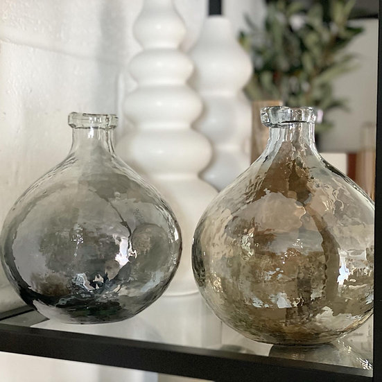 Smoked grey or brown hammered glass vase