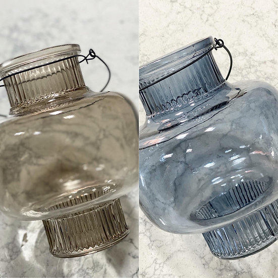 Large smoked glass lantern