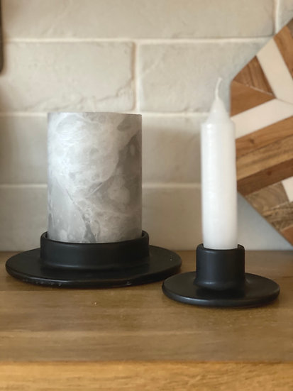 Black pillar candle base