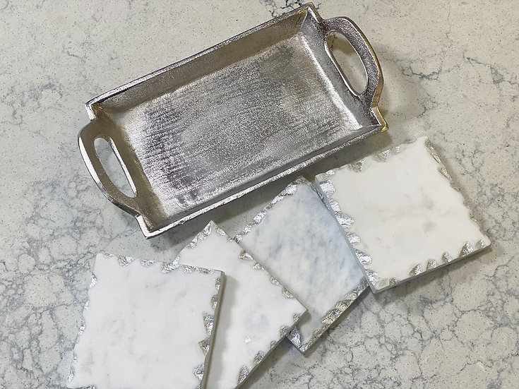 Set of 4 marble coasters in a tray