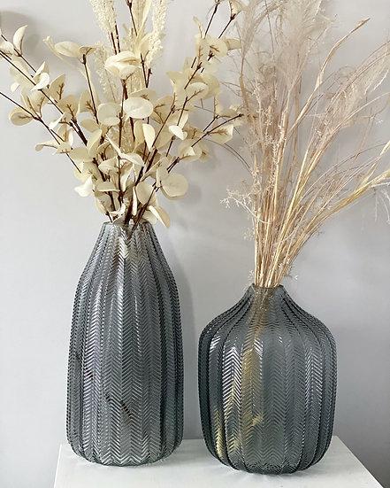 Taller grey herringbone vase