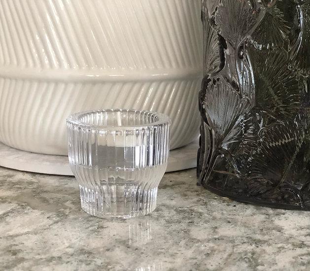 Fluted glass tealight holder